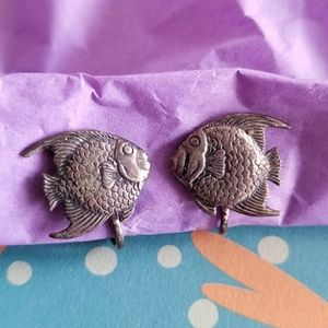 Vintage fish earrings Sterling Silver screwbacks